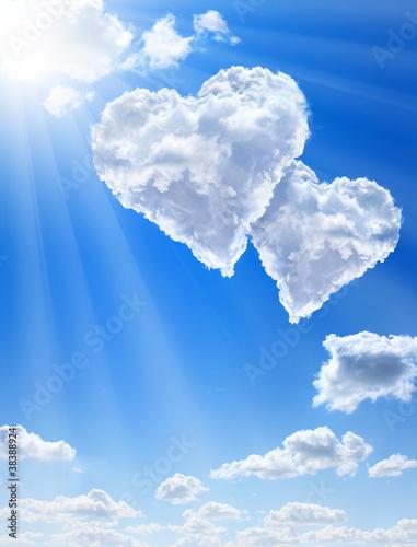 einzelne bedruckte Lamellen - Hearts in clouds against a blue clean sky (von Henry Noel)