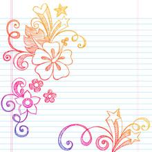 Hibiscus Sketchy Summer Notebook Doodle Vector