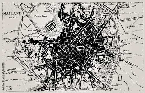 Fotomural Historical map of Milan, Italy.
