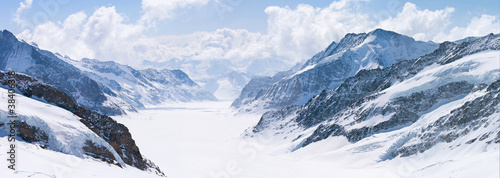 Great Aletsch Glacier Jungfrau Alps Switzerland Canvas Print