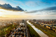 canvas print picture - dusk in mannheim