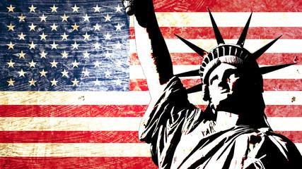 Naklejka drapeau usa statue de la liberté