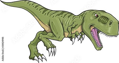 Garden Poster Cartoon draw Tyrannosaurus Dinosaur Vector Illustration