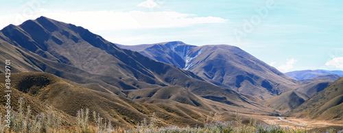 Valokuva  Mountain Landscape Lindis Pass New Zealand Panorama