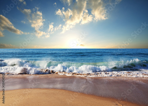 Fotobehang Strand Sea sunset