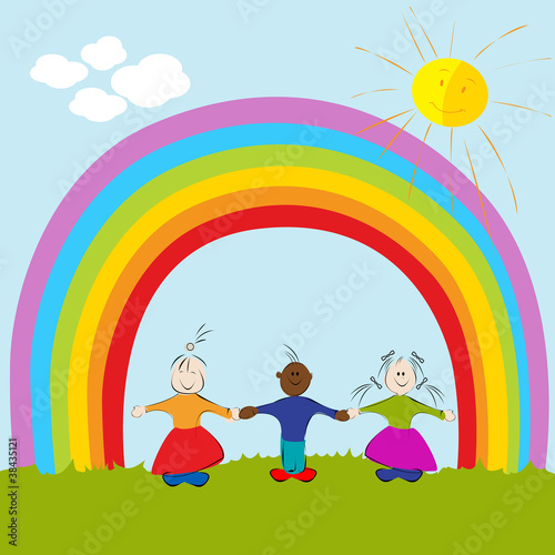 In de dag Regenboog kids on rainbow background