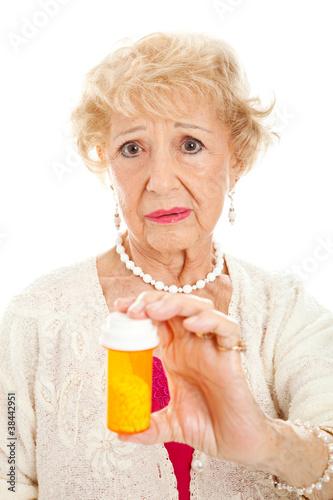 Fotografia  Sad Senior Woman with Pills