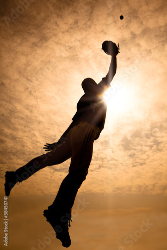 baseball player jumping into air to make the catch Wallpaper Mural