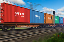 Freight Train With Cargo Conta...