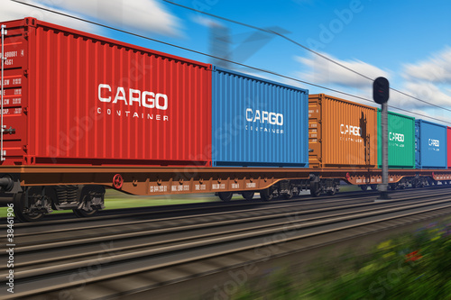 Cuadros en Lienzo  Freight train with cargo containers