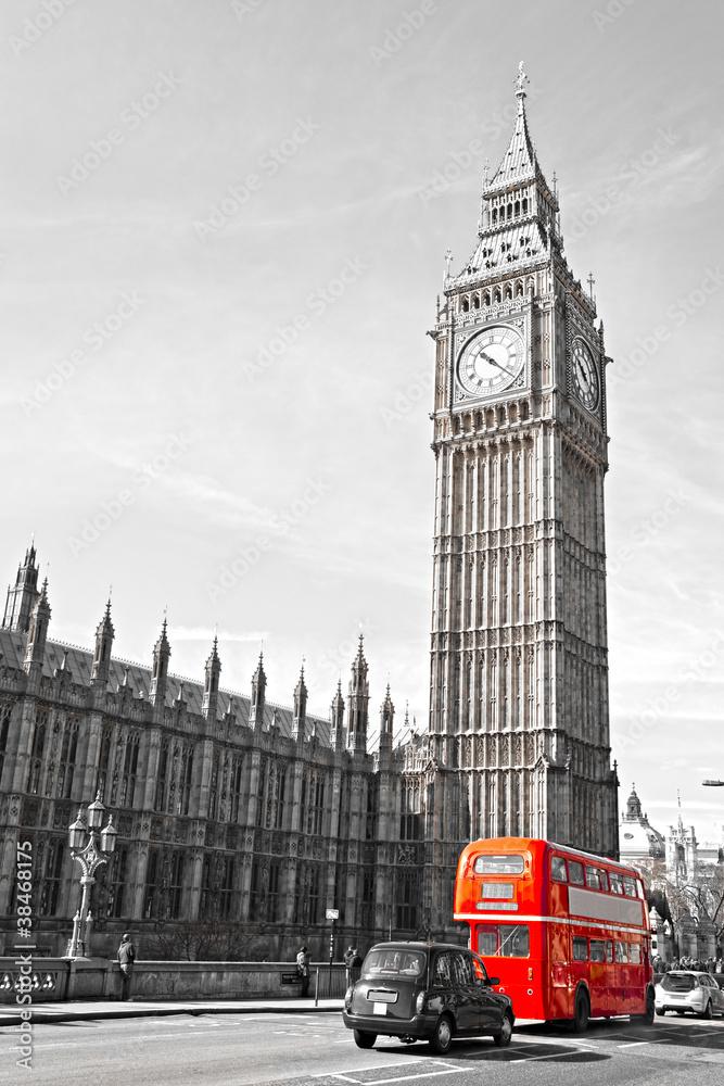 Fototapety, obrazy: Big Ben, House of Parliament i Westminster Bridge