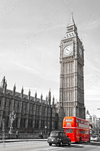 Spoed Foto op Canvas Londen The Big Ben, the House of Parliament and the Westminster Bridge