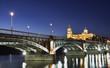 Puente metálico sobre el Tormes y catedral de Salamanca