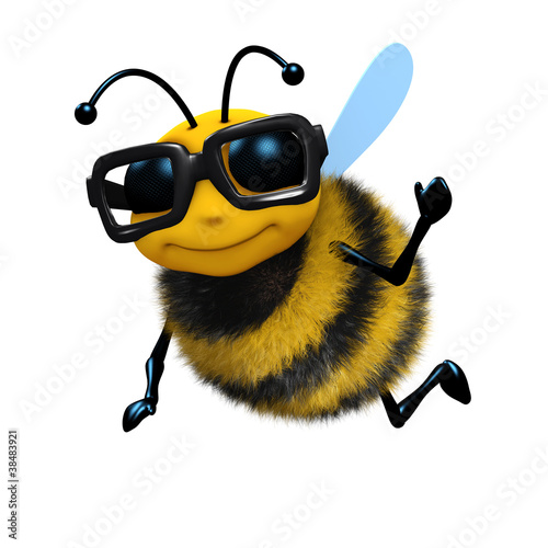 Photo  3d Bee wears glasses and waves hello