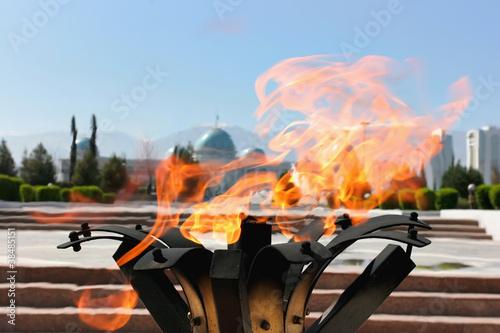 Eternal Flame on monument. Ashkhabad. Turkmenistan. Canvas Print