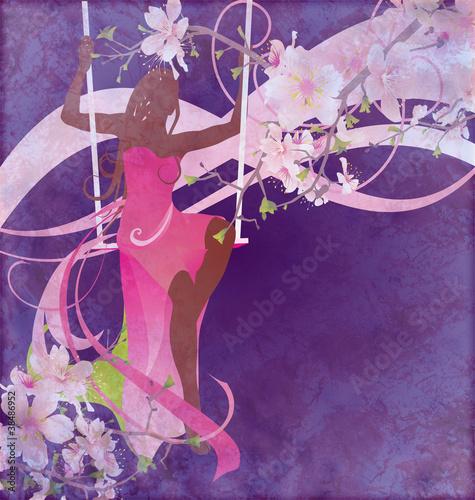 Foto op Plexiglas woman sillhouette in pink evening dress on the swings on floral