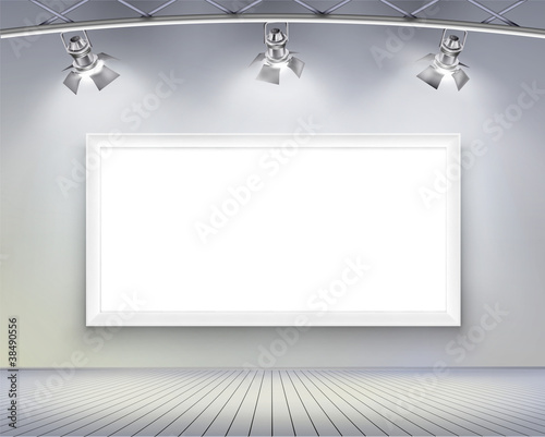 Wall with picture. Vector illustration.