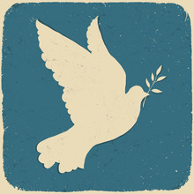 Dove Of Peace. Retro Styled Il...