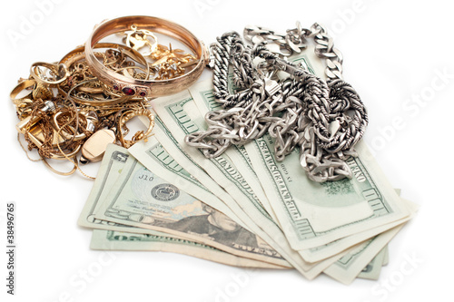 Fotografie, Obraz  gold and silver pile scrap and cash dollar