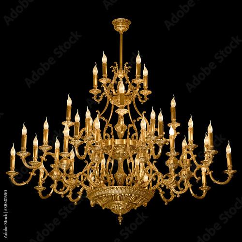 Cuadros en Lienzo Vintage chandelier isolated on black