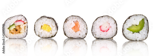 Foto op Aluminium Sushi bar Sushi pieces collection, isolated on white background
