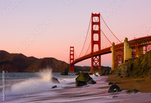 Golden Gate Bridge in San Francisco at sunset Canvas Print