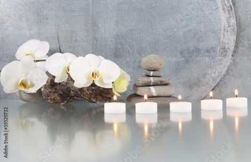 Plissee mit Motiv - Stilleben, Orchidee mit Kerze