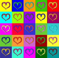 Fototapeta Popart Warhol hearts