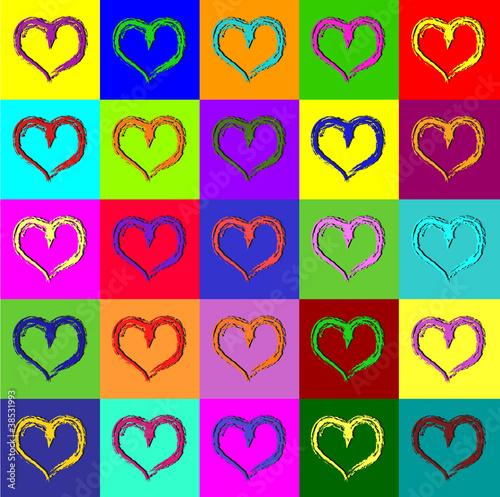 Warhol hearts Canvas Print