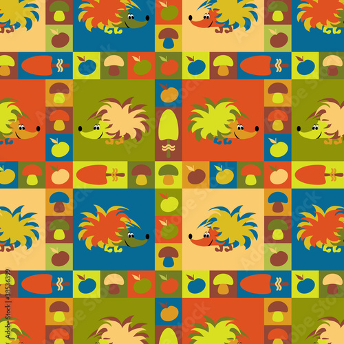 Funny colorful background with hedgehogs, apples and mushrooms