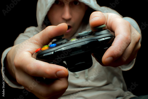Photo  Gamer and controller