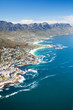 canvas print picture aerial view of coast of Cape Town, South Africa
