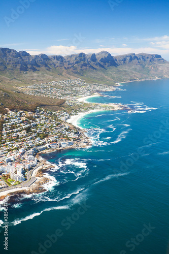 Poster Afrique du Sud aerial view of coast of Cape Town, South Africa