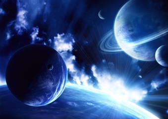 Fototapeta granatowe planety - ksomos
