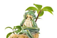 Smiling Green Frog Statuette Sitting On Flower Pot On White