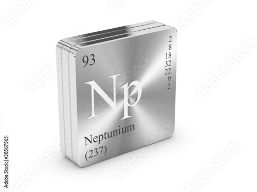 Fotografie, Obraz  Neptunium - element of the periodic table on metal steel block