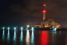 Night View Of Reading Power Station In Tel Aviv, Israel
