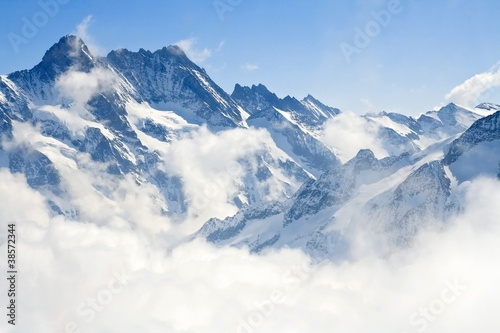 Aluminium Prints Alps Jungfraujoch Alps mountain landscape