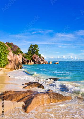 Canvas Print Tropical beach Source D'Argent at Seychelles