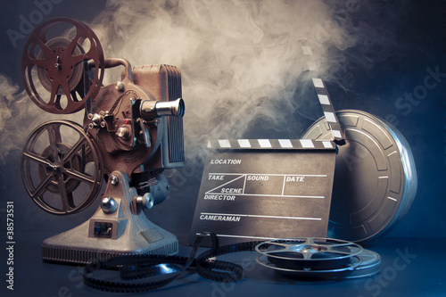 Photo  old film projector and movie objects