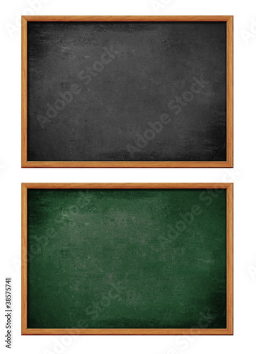 Fotografía  blank black and green board set with wooden frame