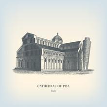 Engraving Vintage Cathedral Of Pisa.