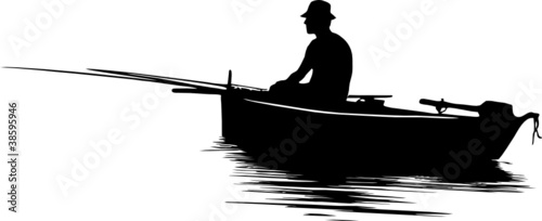 Obraz Fisherman silhouette - fototapety do salonu