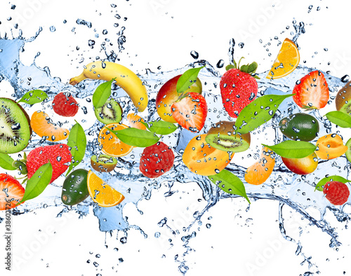 Obraz Fresh fruits in water splash, isolated on white background - fototapety do salonu