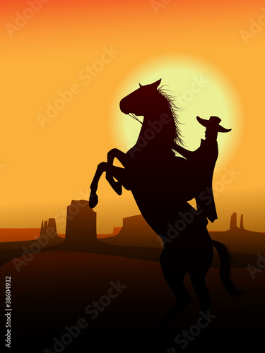 Aluminium Prints Wild West Hero of wildwest go in sunset