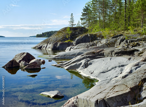 Fotografering  Stony shore of Ladoga lake, Russia