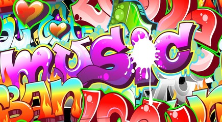 Naklejka Graffiti Urban Art Background. Seamless design