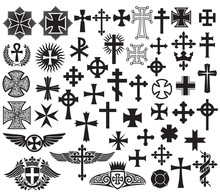 Big Collection Of Vector Isolated Crosses