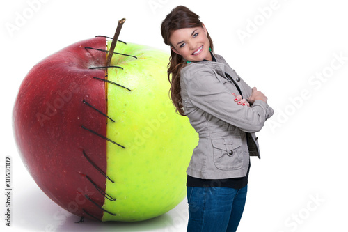 Photo  Woman with Red Delicious Apple with Nutrition Label