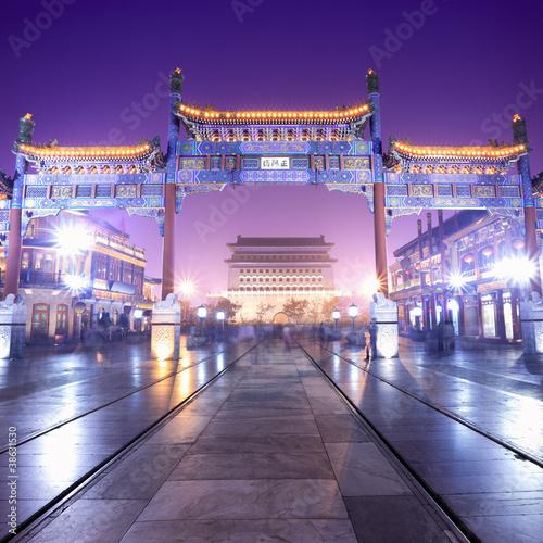 Poster Pekin beijing traditional shopping street at night